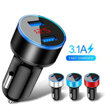 3.1A LED Display Dual USB Car Charger Universal