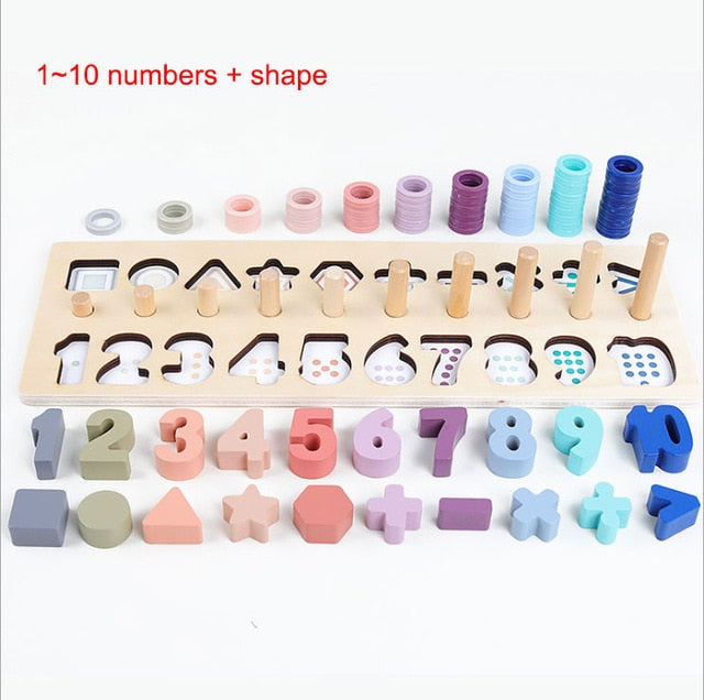 Preschool Wooden Montessori Toys Count Geometric Shape Cognition Match