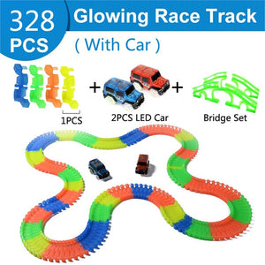 Railway Magical Glowing Flexible Track Car Toys Racing Bend Rail Track