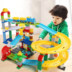 200Pcs DIY Big Bricks Colorful Race Run Track Building Blocks Bricks