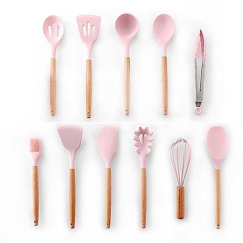 Silicone Cooking Non-stick Spatula Shovel Wooden Handle Cooking Tools