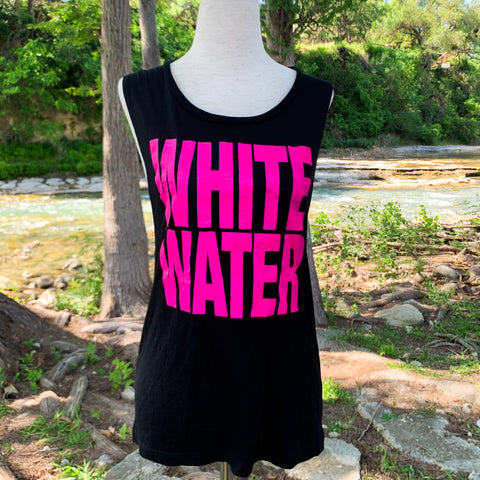 Whitewater Spring Break Block Letters Ladies Tank - Black/Hot Pink