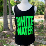 Whitewater Spring Break Block Letters Men's Tank - Black/Neon Green