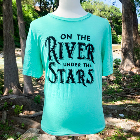 On The River Under The Stars T-Shirt - Seafoam Green