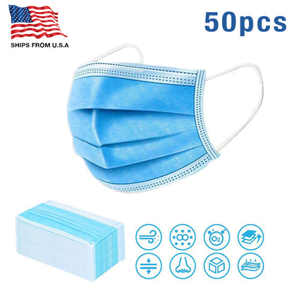 50 Disposable Breathable 3 Ply Face Masks