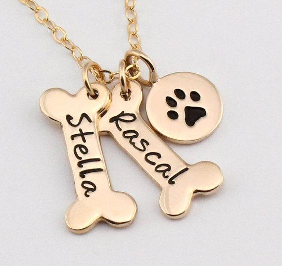 Custom Name Dog Bone & Paw Necklace