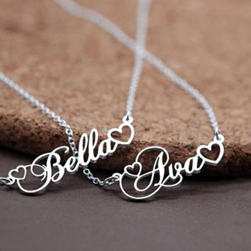 Custom Name Necklace With Tiny Heart