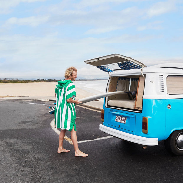 surfing combie van with hooded towel poncho