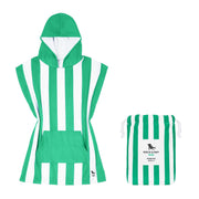 small childrens hooded towel poncho green
