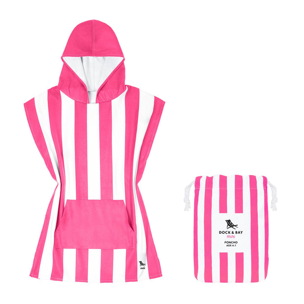 small childrens hooded towel poncho pink