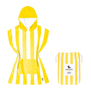 small childrens hooded towel poncho yellow