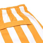 quick dry swim shorts orange close up soft microfiber fabric
