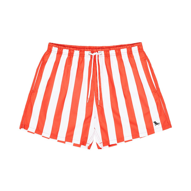 quick dry swim shorts red front view
