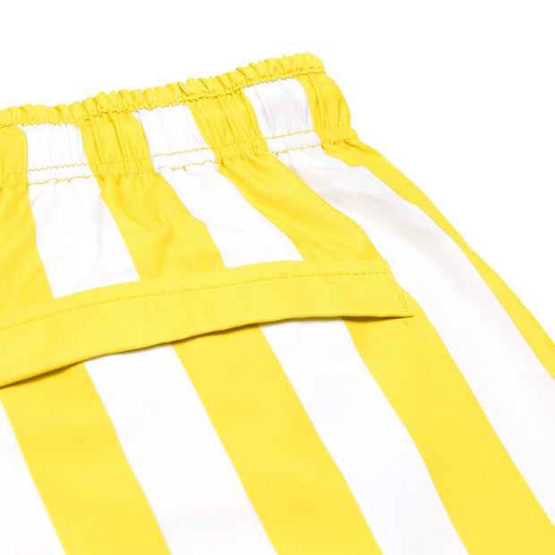 quick dry swim shorts yellow close up soft microfiber fabric