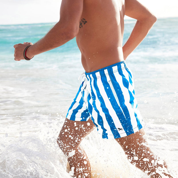 blue and white striped swim shorts