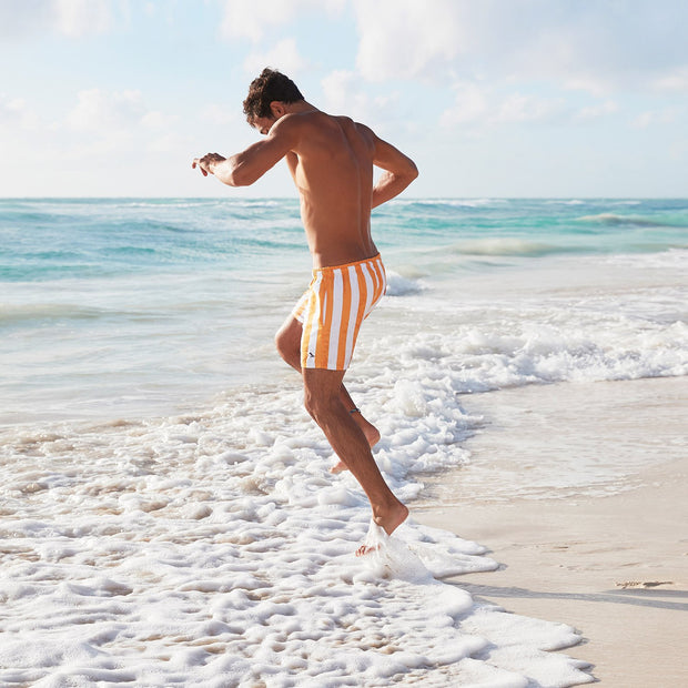 environmentally friendly mens swim shorts in orange