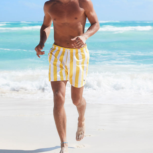 swim shorts for men in yellow and white design