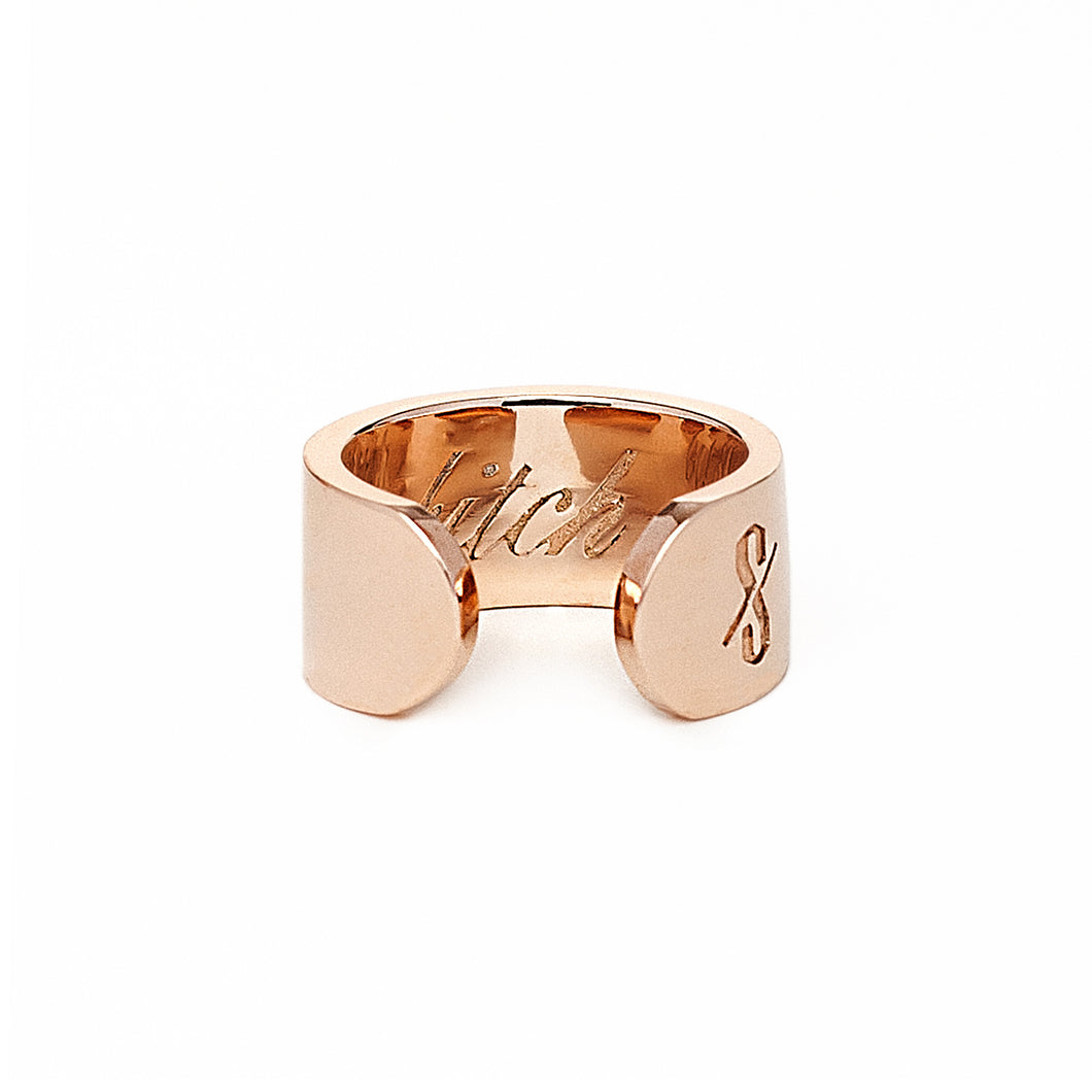 Adjustable Rose Gold Bitch Ring