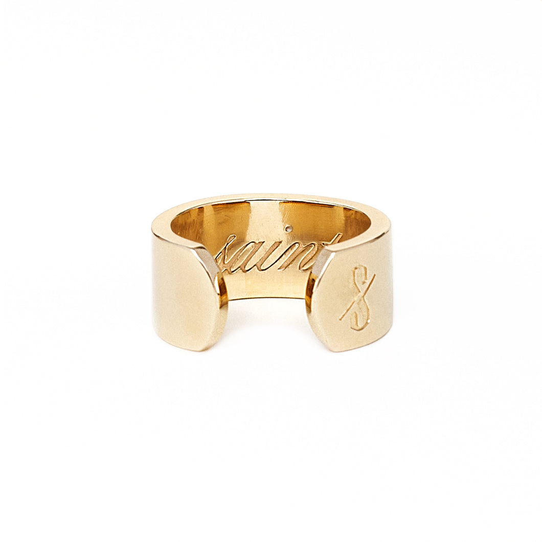 Adjustable 18-Karat Gold Saint and Sinner Ring