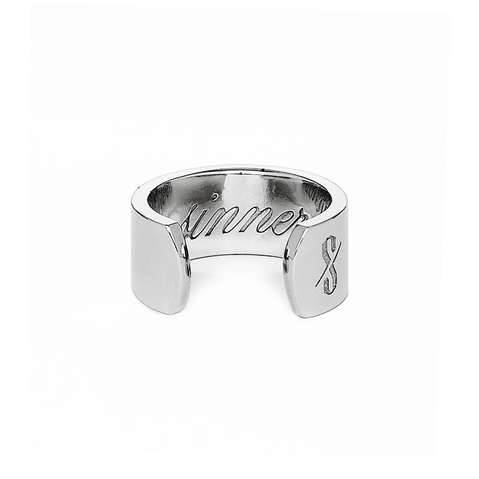 Adjustable Silver Sinner and Saint Ring