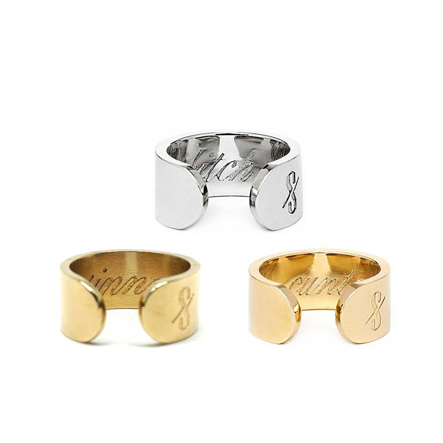 Bitch + Cunt + Sinner Ring Set