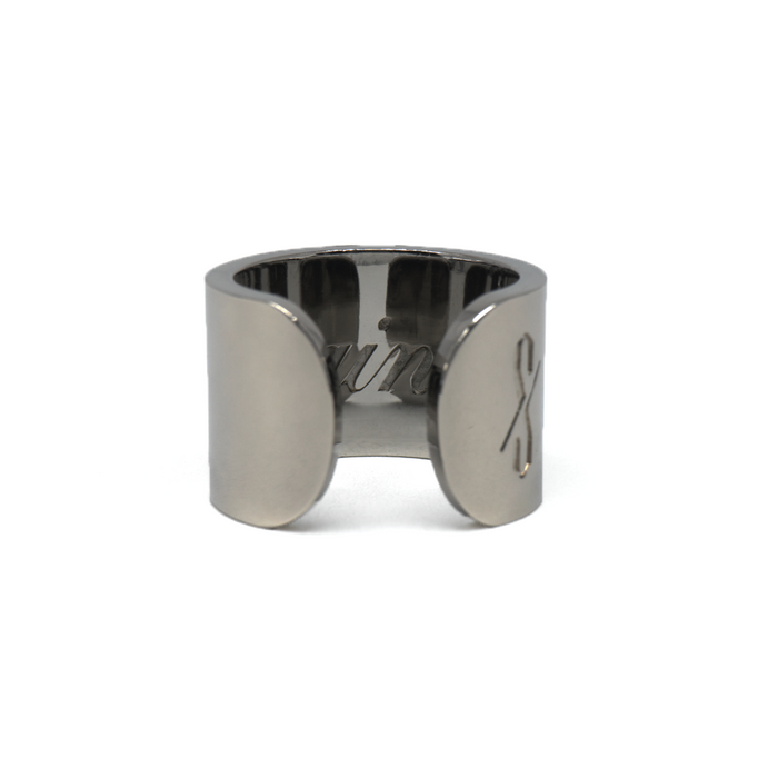 TALL SAINT RING: Gunmetal