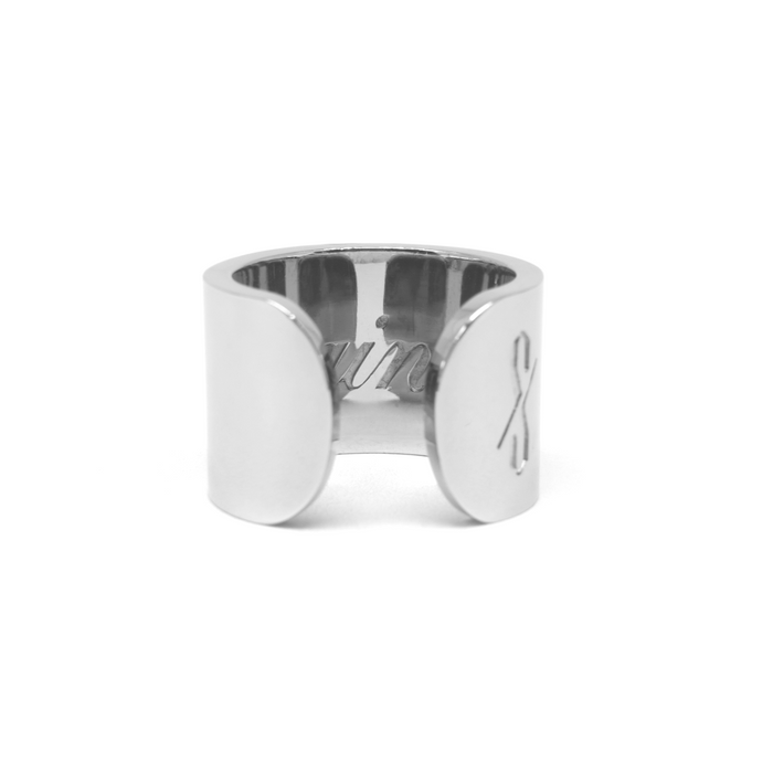 TALL SAINT RING: Rhodium