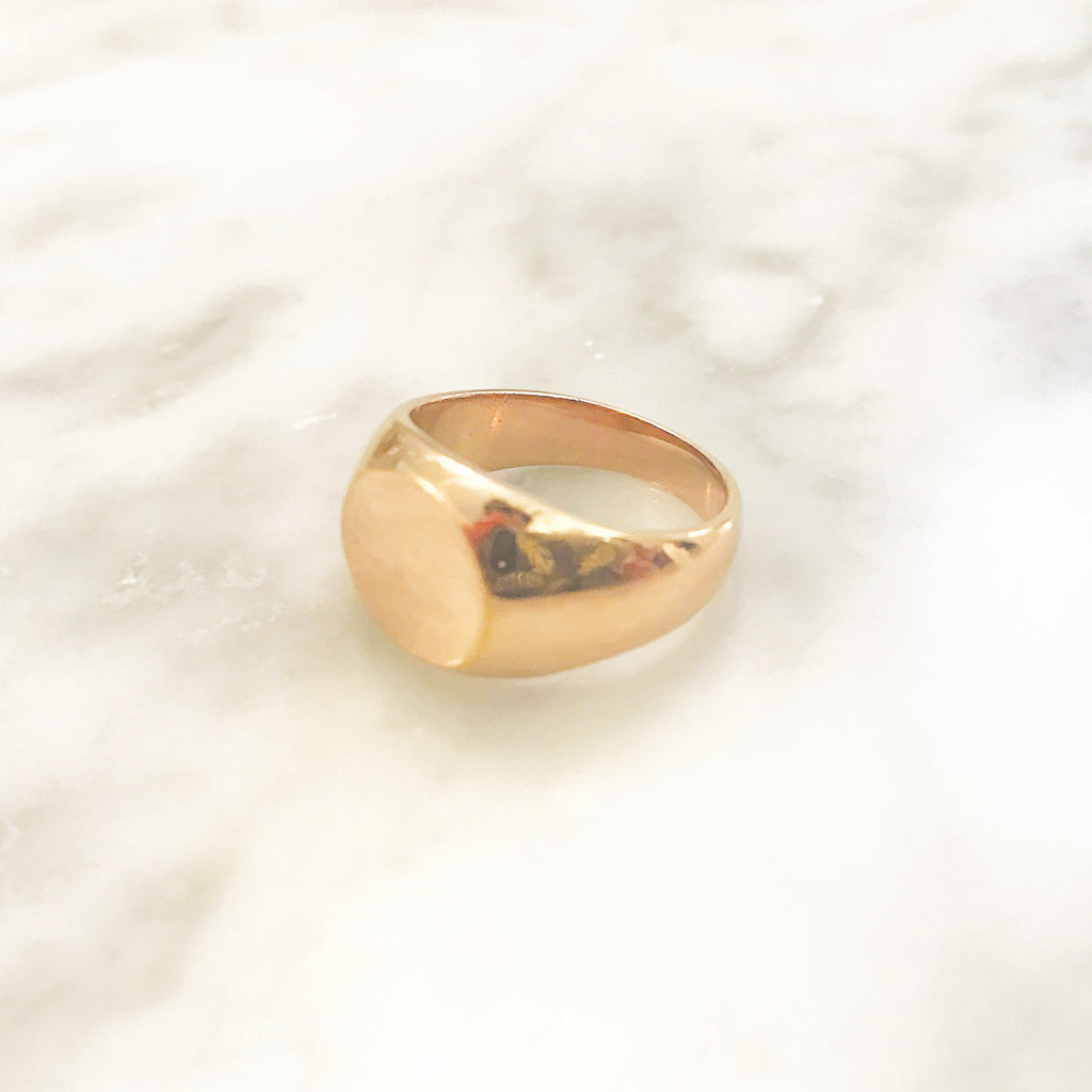 Essential Pinky Signet: Solid 18K Rose Gold