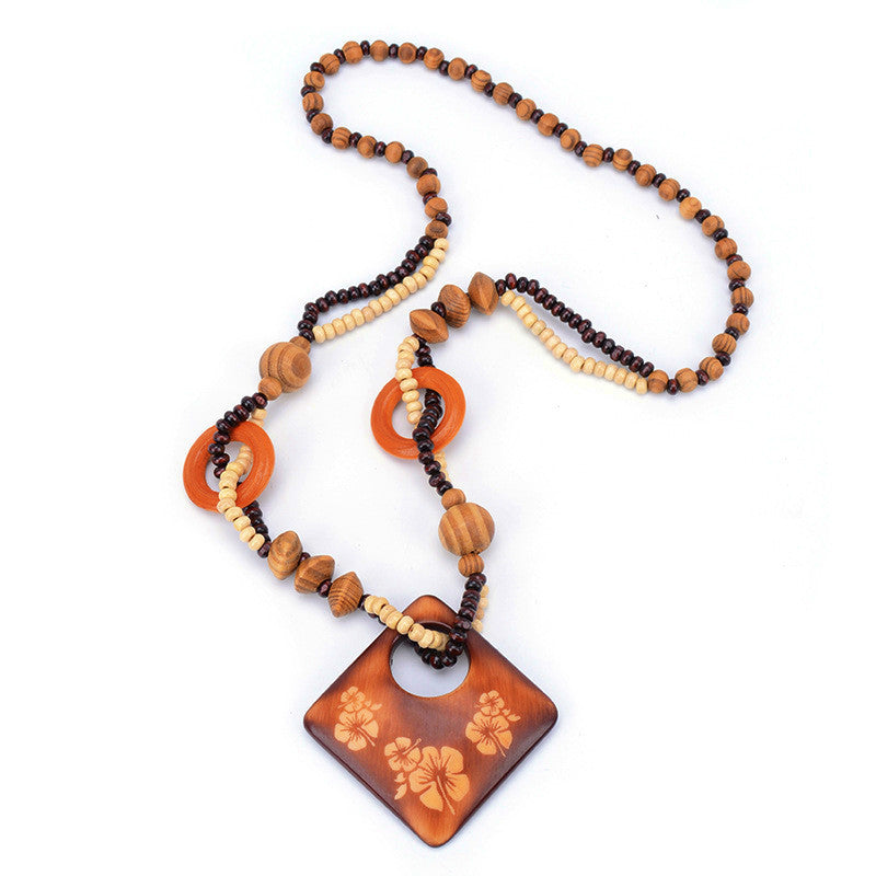 Vintage Wood Bead Fish Elephant Charm Necklace for Women