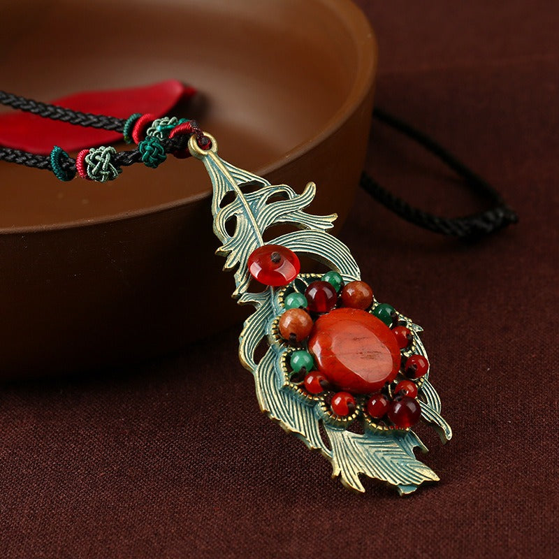 Retro Leaves Long Style Necklace