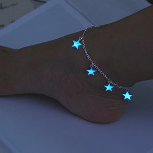 Trendy Luminous Blue Star Anklet Foot Chain Barefoot Sandal