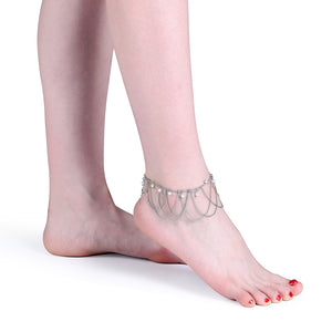 Simple Women Anklet Chain Tassel Pearl Silver Plated Anklet