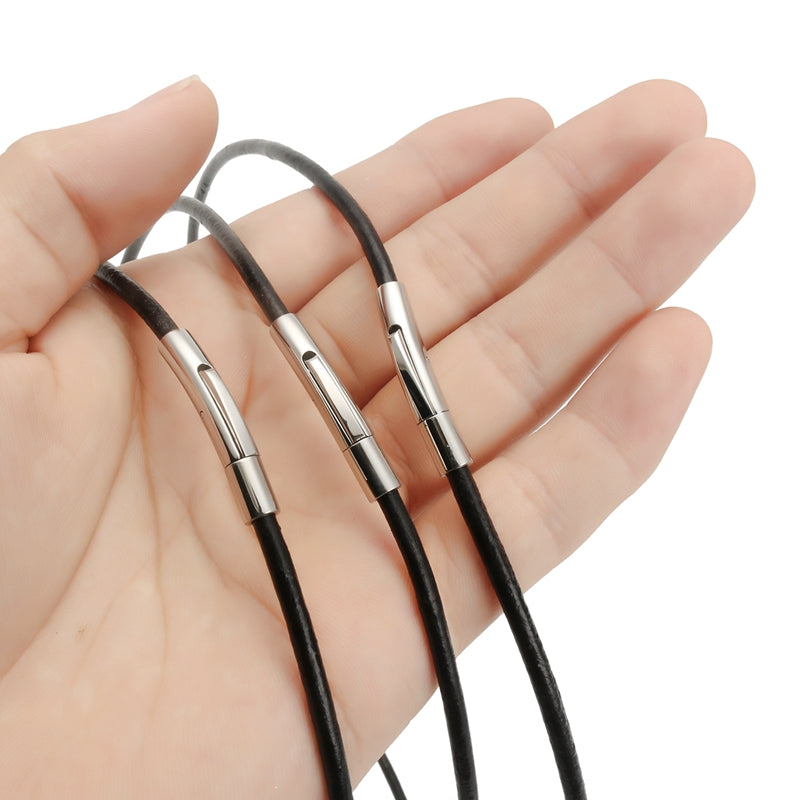 Unisex Stainless Steel  Chain Black Leather Cord Rope Necklace