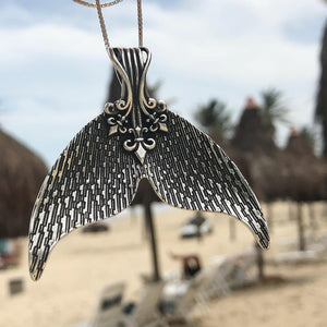 Bohemian Antique Silver Mermaid Tail Pendant Necklace