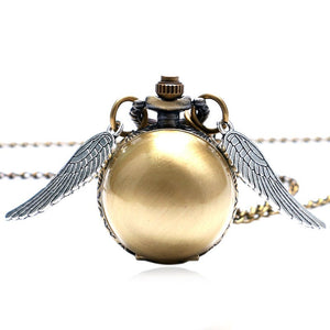 Golden Wings Snitch Quartz Pocket Watch Necklace