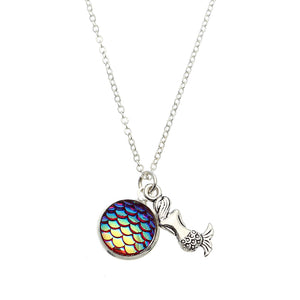 Trendy Time Gemstone Colorful Mermaid Scale Resin Pendant Delicate Silver Necklaces for Girl Women
