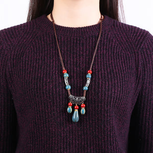 Ethnic Handmade Women's Long Necklace Ceramic Drop Tassel Pendant Vintage Sweater Necklace for Her