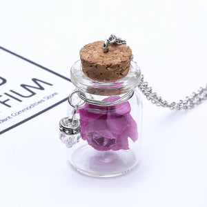 Fashion Glass Tiny Wishing Bottle Charm Necklace