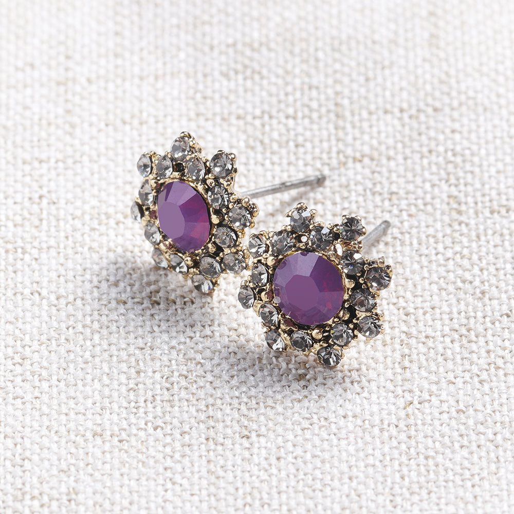 Simple Gemstone Ear Stud Micro Paved Flower Earring Classic