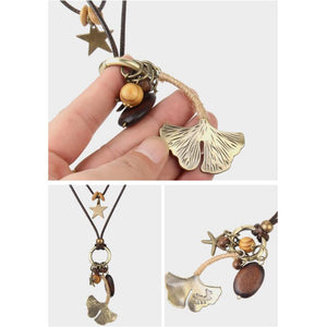 Retro Wax Rope Stars Alloy Leaf Long Pendant Sweater Chain