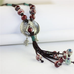 Women's Vintage Fish Pendant Ceramic Beads Tassel Necklace