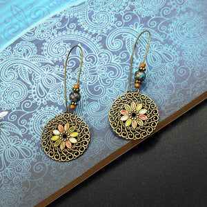 Ethnic Geometric Flower Ear Drop Earring