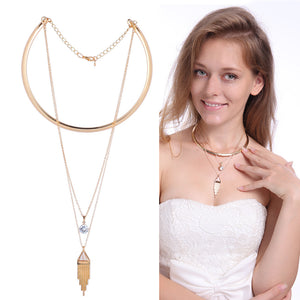 Bohemian Turquoise Crystal Tassel Collar Chain Multilayer Pendant Necklace Gift For Women