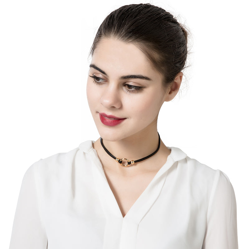 Punk Women's Choker Dacron Circle Charm Simple Style Clavicle Necklace Clothing Accessories