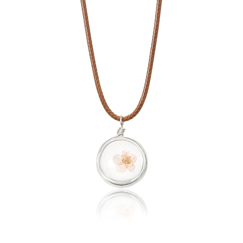Lovely Dried Flowers Crystal Ball Pendant Wax Rope Clavicle Necklaces