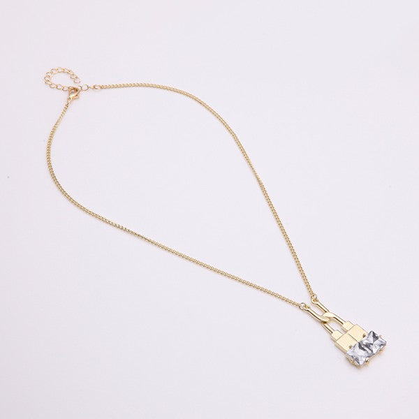 Trendy Balancing Style Pandent Alloy U-shaped Lock Rhinestone Necklace Gift for Women