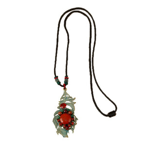 Retro Leaves Long Style Necklace (01)