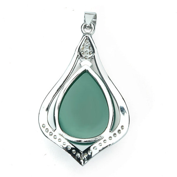 925 Silver Zircon Crystal Chalcedony Pendant For Necklace Chain