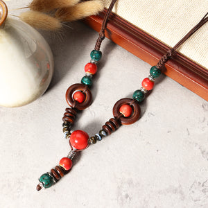 Vintage Beaded Pendant Ethnic Ceramics Beads Long Necklace