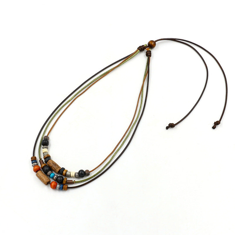 Bohemian Multilayer Necklace Wax Rope Alloy Wood Beaded